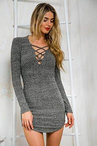 Sannysis Sexy Frauen Lace Up Langärmlig Elastizität Baumwollkleider Bodycon Minikleid (EU 36(Asia M)) - 3