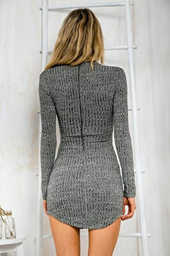 Sannysis Sexy Frauen Lace Up Langärmlig Elastizität Baumwollkleider Bodycon Minikleid (EU 36(Asia M)) - 4