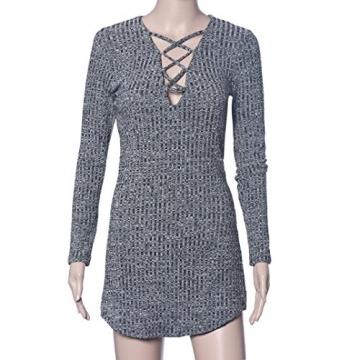 Sannysis Sexy Frauen Lace Up Langärmlig Elastizität Baumwollkleider Bodycon Minikleid (EU 36(Asia M)) - 5
