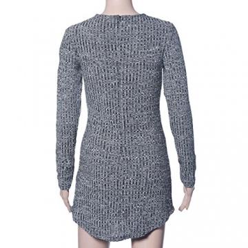 Sannysis Sexy Frauen Lace Up Langärmlig Elastizität Baumwollkleider Bodycon Minikleid (EU 36(Asia M)) - 6