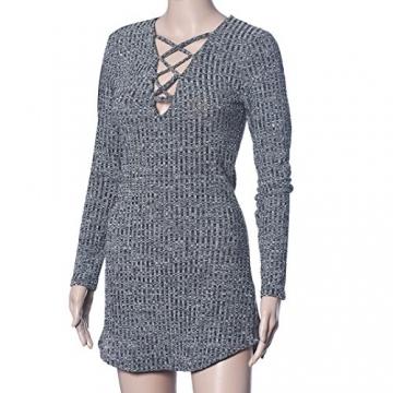 Sannysis Sexy Frauen Lace Up Langärmlig Elastizität Baumwollkleider Bodycon Minikleid (EU 36(Asia M)) - 7