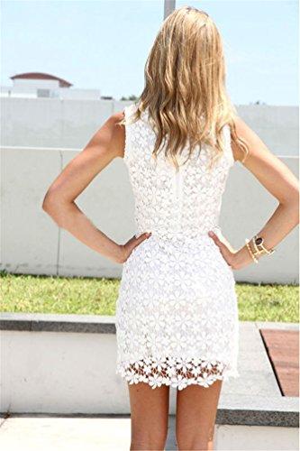 Saoirse Damen Weiß Sexy Lace Spitzen Kleid - 3