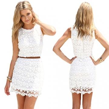 Saoirse Damen Weiß Sexy Lace Spitzen Kleid - 1