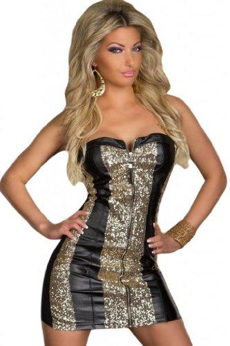 Saphira mode. Funkelnd Gold Pailletten-trägerloses Cocktail-Kleid-schwarz -