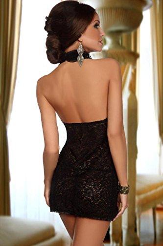 Saphira Mode. schwarzer Spitze Minikleid. Größe S / M - 2