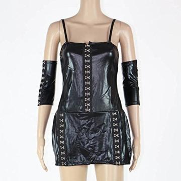 SASA Babydoll Damen Kleid PU Sexy Lingerie Bündeln Jumpsuit Lackleder Kleid Schwarz Erotische Pyjamas DS Nightclub Performance, Black - 2
