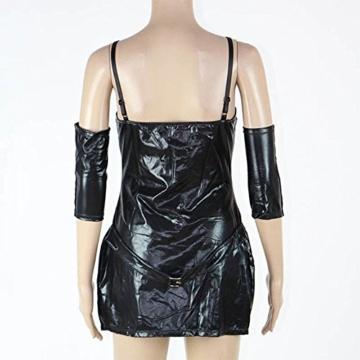 SASA Babydoll Damen Kleid PU Sexy Lingerie Bündeln Jumpsuit Lackleder Kleid Schwarz Erotische Pyjamas DS Nightclub Performance, Black - 3