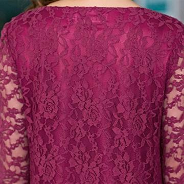 Sasairy Frau Sexy Mini Kleider Spitze Blumen Elegant Kurzekleid Lange Ärmel Cocktailkleid für Abend Hochzeit Dunkelrot,38 -