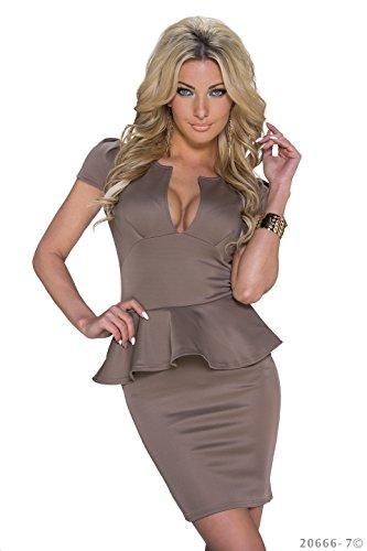 Schößchen Minikleid Partykleid mit V-Ausschnitt Q20666, Größe:34;Farbe:taupe - 2