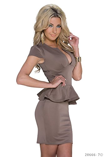 Schößchen Minikleid Partykleid mit V-Ausschnitt Q20666, Größe:34;Farbe:taupe - 3