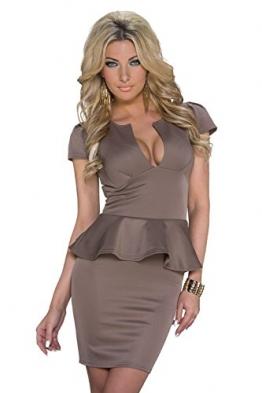 Schößchen Minikleid Partykleid mit V-Ausschnitt Q20666, Größe:34;Farbe:taupe - 1
