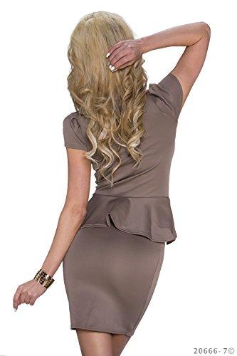 Schößchen Minikleid Partykleid mit V-Ausschnitt Q20666, Größe:34;Farbe:taupe - 4
