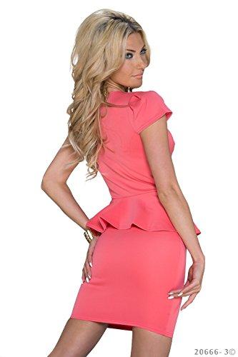 Schößchen Minikleid Partykleid mit V-Ausschnitt Q20666, Größe:34;Farbe:taupe - 5