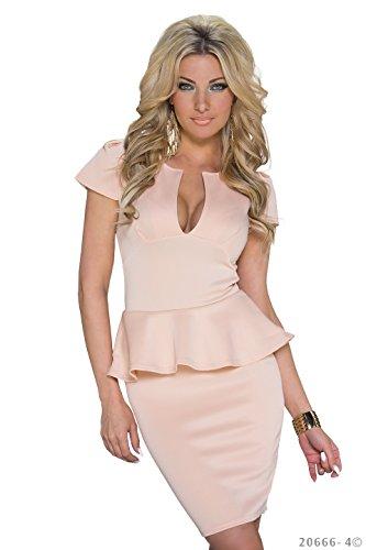 Schößchen Minikleid Partykleid mit V-Ausschnitt Q20666, Größe:34;Farbe:taupe - 6