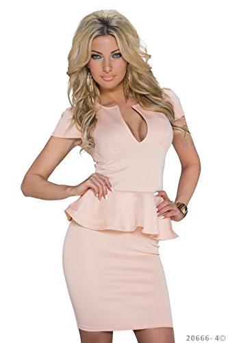 Schößchen Minikleid Partykleid mit V-Ausschnitt Q20666, Größe:34;Farbe:taupe - 7
