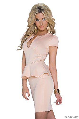 Schößchen Minikleid Partykleid mit V-Ausschnitt Q20666, Größe:34;Farbe:taupe - 8