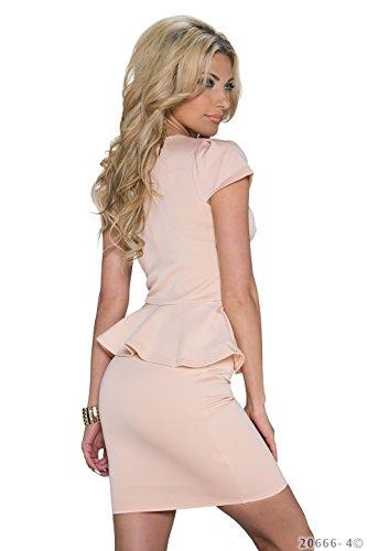 Schößchen Minikleid Partykleid mit V-Ausschnitt Q20666, Größe:34;Farbe:taupe - 9