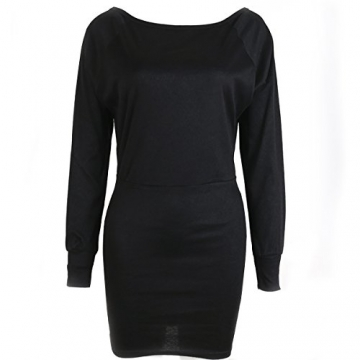 Schulterfreies langaermelig Mini Kleid Schwarz Gr. S 36-38 - 2