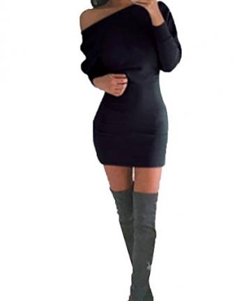 Schulterfreies langaermelig Mini Kleid Schwarz Gr. S 36-38 - 1