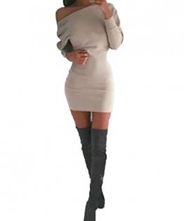 Schulterfreies langärmelig Mini Kleid -