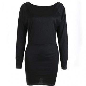 Schulterfreies langärmelig Mini Kleid - 2