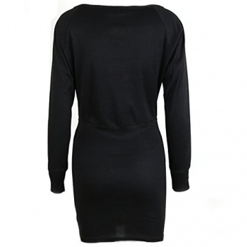 Schulterfreies langärmelig Mini Kleid - 3
