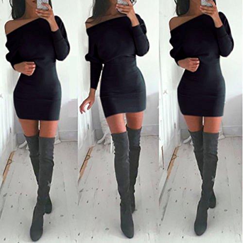 Schulterfreies langärmelig Mini Kleid - 6