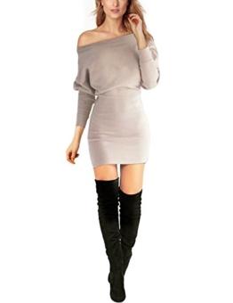 Schulterfreies langaermelig Mini Kleid Creme Gr. S 36-38 - 1