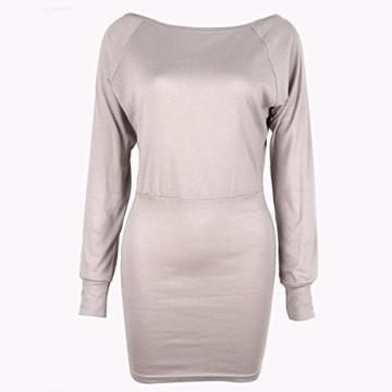 Schulterfreies langaermelig Mini Kleid Creme Gr. S 36-38 - 2