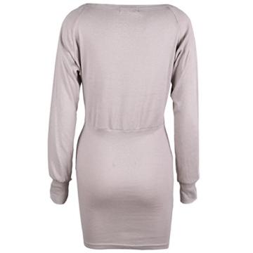 Schulterfreies langaermelig Mini Kleid Creme Gr. S 36-38 - 3
