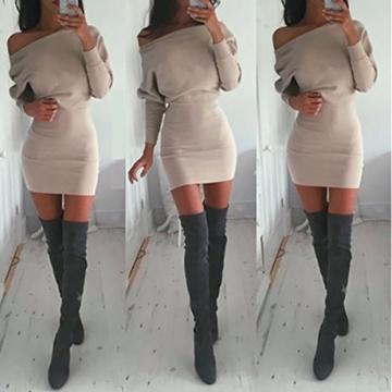 Schulterfreies langaermelig Mini Kleid Creme Gr. S 36-38 - 6
