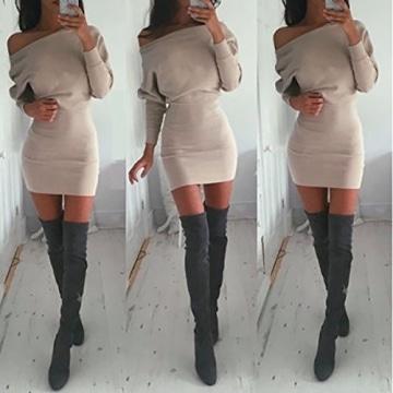 Schulterfreies langärmelig Mini Kleid, Farbe Creme, Gr. M (38/40) -