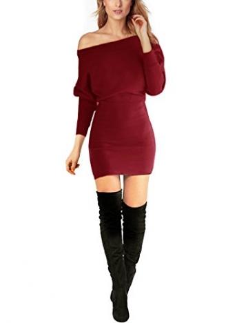 Schulterfreies langaermelig Mini Kleid Rot Gr. L 40-42 -