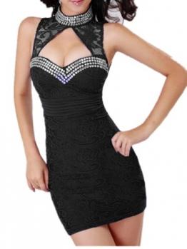 Schwarz Cheongsam Stil Spitze Backless figurbetontes Prom Cocktail Minikleid Damen Kleider - 1