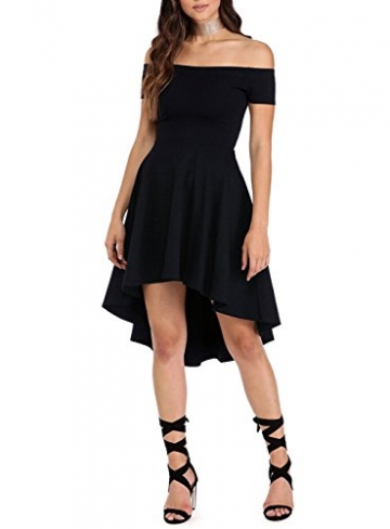 ツ Schwarzes Schulterfreies Kleid Cocktailkleid Asymmetrisch ...