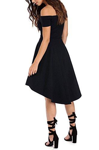 Schwarz Schulterfreies Kleid ZJCTUO Damen Elegant Skaterkleid Kurz Cocktailkleid Asymmetrisch Abendkleid Festlich Partykleid(Schwarz,38) -