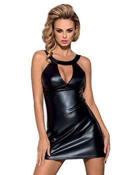 Schwarzes Dessous wetlook Minikleid glänzend elastisch Abendkleid Gogokleid mit String Größe: L/XL - 1