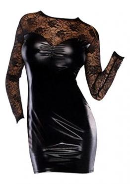 Sehr reizvoller Faux-Leder / PVC Clubwear Spitzeneinsatz Kurze Kleid eine Größe Erotik - 1