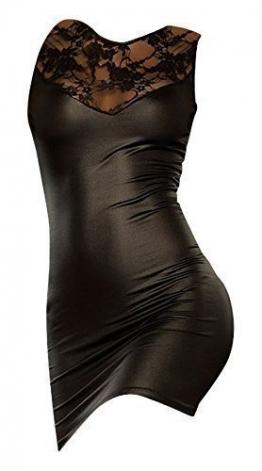 Sehr reizvolle/Sexy Schwarz Faux-Leder / PVC Clubwear mit Spitze Kurze Kleid Größe 36-38 Erotik -