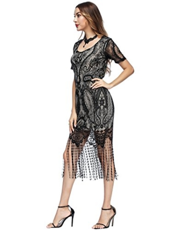 SELUXU Damen Retro 1920er Jahren Perlen Pailletten Floral Franse Gatsby Flapper Kleid - 3