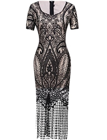 SELUXU Damen Retro 1920er Jahren Perlen Pailletten Floral Franse Gatsby Flapper Kleid - 5