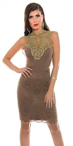 Sensationelles Spitzen-Kleid mit glänzendem Dekolleté-Einsatz XS - 1