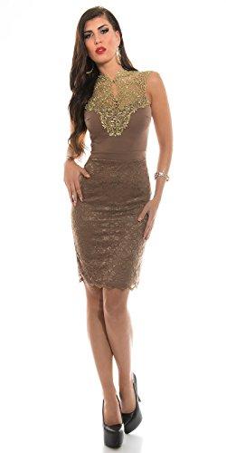 Sensationelles Spitzen-Kleid mit glänzendem Dekolleté-Einsatz XS - 3