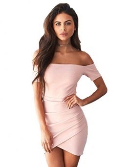 Sentao Damen Schulterfreies Kleid Bodycon Kurz Cocktailkleid Festlich Partykleid Pink S -