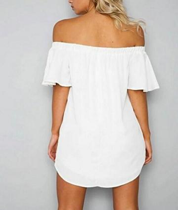 Sentao Damen Sommerkleid Off-Schulter Rüschen Party Minikleid Stickerei Kleid Weiß S -