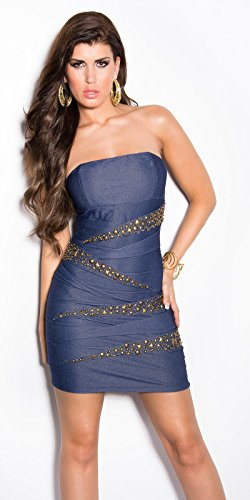 Sexy Bandeau Kleid mit Nieten im Jeans-Look Koucla by In-Stylefashion SKU 0000ISF882203 - 4