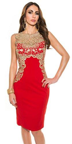 Sexy Damen Cocktail Party Penicilkleid Kleid Spitze Stickerei Rot S -