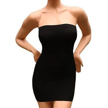 Sexy Damen Figurformende miederkleid trägerlos ausdehnungs minikleid schlankheits SS-W03 Schwarz (S) -