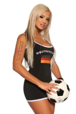 Sexy Damen Kleid Mini-Kleid im Nationaltrikot-Look Deutschland (L/XL) - 1