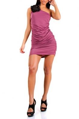 Sexy Damen Sommer Kleid Cocktail Minikleid Partykleid Oneshoulder Rosen 6 verschiedene Farben, Größe:36/ 38/ 40;Farbe:Altrosa - 1